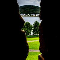 View out the arrowslit of Dunstaffnage Castle