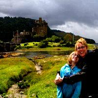 Emma and Lesley at Eilean Donan.