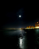 Moon over North Myrtle Beach - a combination of long exposures. LK_20141226_0124_HDR_2