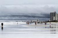 The beach at Cherry Grove Pier in North Myrtle Beach during Hurricane Arthur.